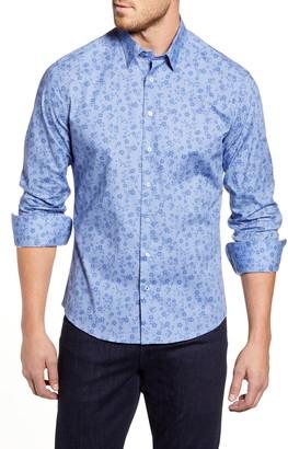 Stone Rose Regular Fit Floral Zigzag Strip Button-Up Sport Shirt