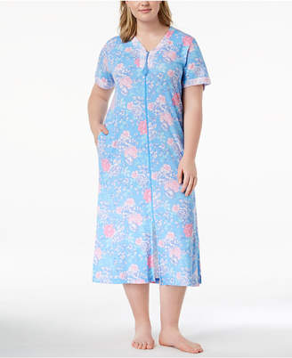 Miss Elaine Plus Size Rose-Print Knit Robe