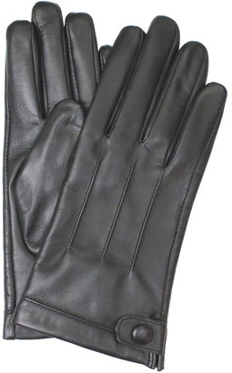 Dents Leather Gloves with Stitch Detail and Stud Button Trim