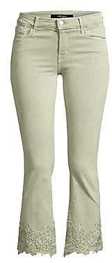 J Brand Women's Selena Mid-Rise Crop Bootcut Floral Lace Hem Jeans