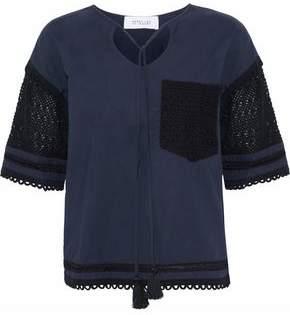 Derek Lam 10 Crosby Crochet-Paneled Jersey Top