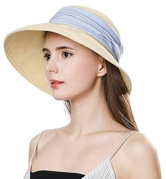 0e32a7d2e27a Cloche Jeff   Aimy Womens Summer Straw Beach Sun Hat UPF 50 Wide Brim with  Chin