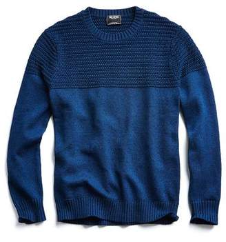 Todd Snyder Italian Cotton Textured Crewneck Sweater in Royal
