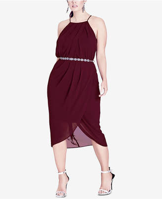 City Chic Trendy Plus Size Belted Faux-Wrap Midi Dress