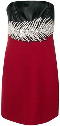 David Koma embellished feather strapless dress