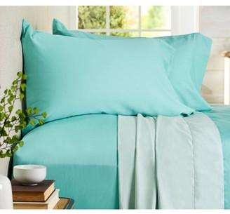 Auraa Comfort 500 TC Reversible 100% Cotton 4PC Queen Sheet Set