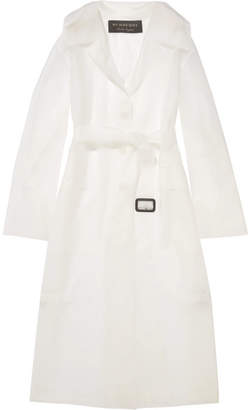 Burberry Belted Rubberized Pu Trench Coat - White