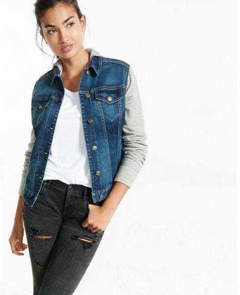 Express sweatshirt sleeve hooded denim trucker jacket