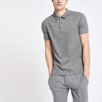 River Island Mens Grey slim fit pinstripe polo shirt
