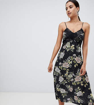 Missguided Lace Floral Midi Dress
