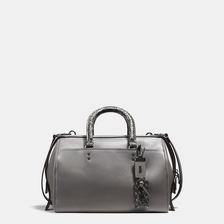 Coach   COACH Coach Rogue Satchel In Glovetanned Pebble Leather With Colorblock Snake