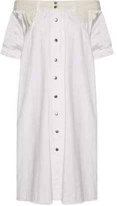 Sea Off-The-Shoulder Silk Satin-Paneled Cotton Dress