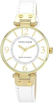 Anne Klein Women's Goldtone Round Leather Strap Watch