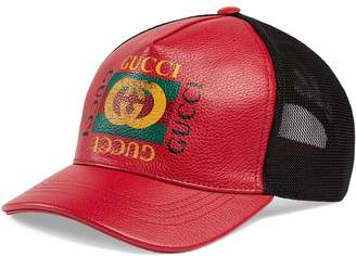 Gucci Print leather baseball hat