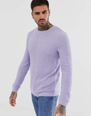 Asos Design DESIGN muscle fit lightweight cable jumper in lilac