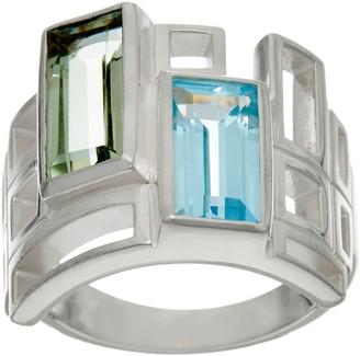 Solvar Sterling Silver and Multi- Gemstone Geometric Ring