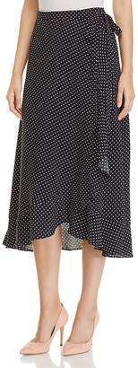 Three Dots Polka-Dot Midi Wrap Skirt