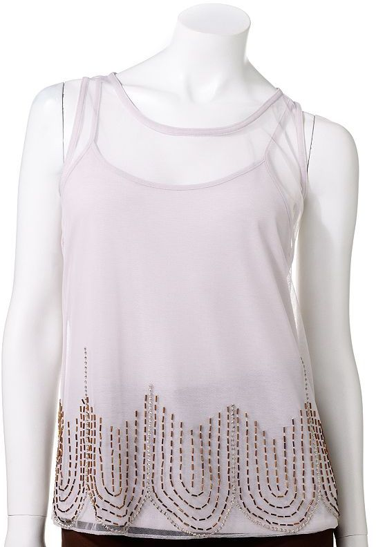 JLO by Jennifer Lopez embellished mesh top