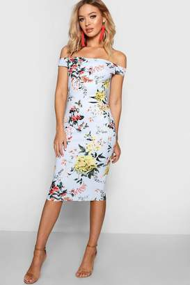 boohoo Floral Off the Shoulder Midi Dress