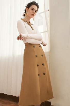 Genuine People Button Up A Line Midi Skirt