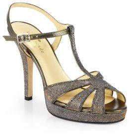 Kate Spade Rosie Metallic T-Strap Platform Sandals