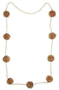 Wire-Wrap Beaded Necklace - Amber/ Goldtone