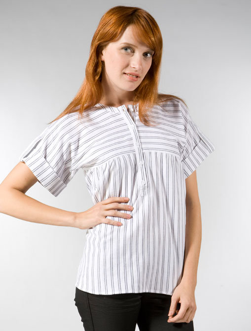Built by Wendy Striped Shirting Camp Shirt in White