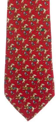 Salvatore Ferragamo Dog Print Silk Tie