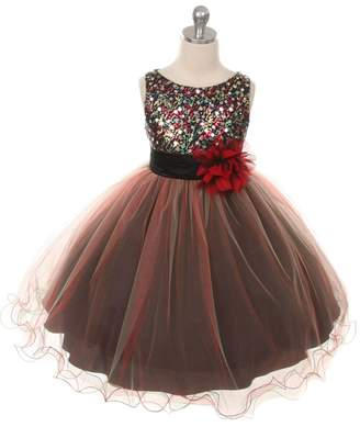 Kids Dream Madelyn- Multi-Sequin Trio Color Tulle Dress Red
