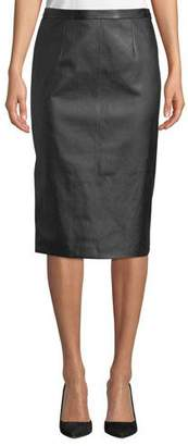 St. John Stretch-Leather Pencil Skirt