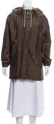 Burberry Fur-Trimmed Hooded Coat