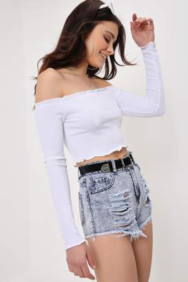 1b6f8a393e8 I SAW IT FIRST White Ribbed Cabbage Hem Bardot Cropped Top