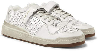Saint Laurent SL24 Perforated Leather Sneakers - Men - White
