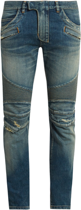 BALMAIN Biker distressed slim-leg jeans $999 thestylecure.com