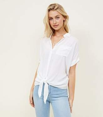 New Look Off White Rolled Sleeve Tie Front Shirt
