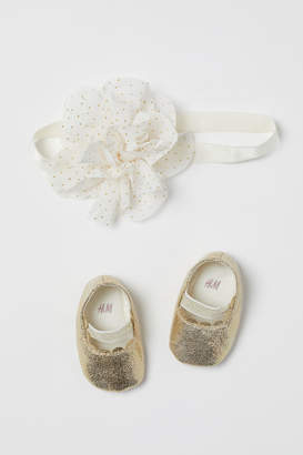 H&M Ballet Flats and Hairband - Gold