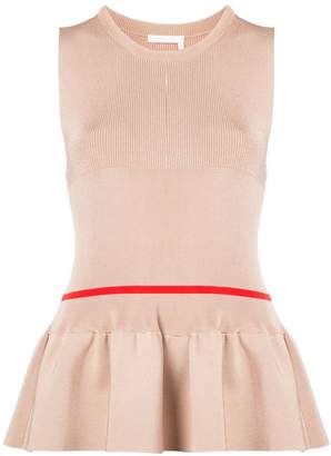 Chloé ribbed sleeveless peplum top