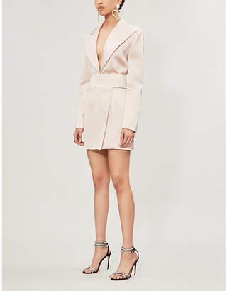 Alexandre Vauthier Notch-lapel satin tuxedo mini dress