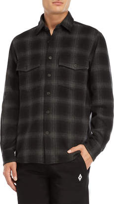 Marcelo Burlon County of Milan Grey Graphic Back Flannel Shirt