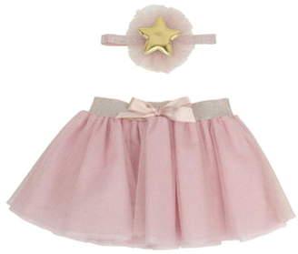 Popatu Star Glitter Tulle Skirt & Head Wrap Set