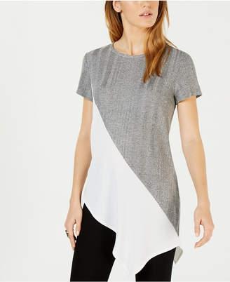Bar III Asymmetrical Colorblocked Top