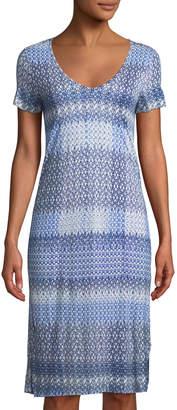 Three Dots V-Neck Ikat-Striped T-Shirt Dress