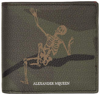 Alexander McQueen Green Camo Dancing Skeleton Wallet