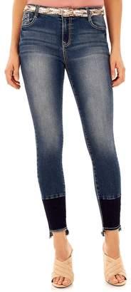 Juniors' Wallflower Belted Curvy Bling Skinny Jeans