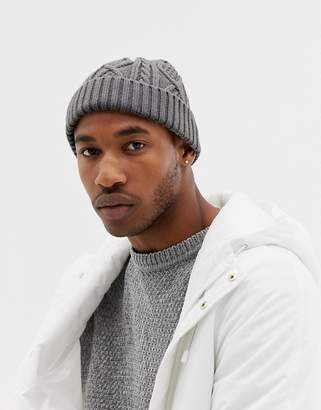 Asos DESIGN fisherman beanie in gray cable knit