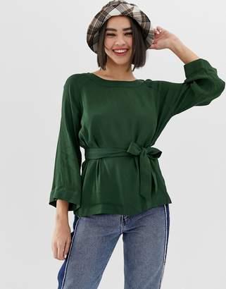 Monki tie waist blouse in green