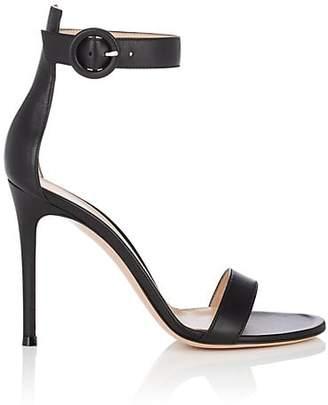 Gianvito Rossi Women's Portofino Leather Ankle-Strap Sandals - Black