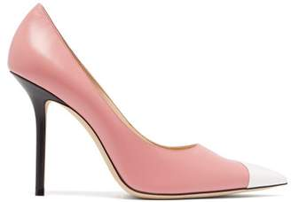 Jimmy Choo Love 100 Mismatched Leather Pumps - Womens - Black Pink