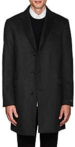 Barneys New York MEN'S ODESSA STRIPED WOOL-CASHMERE FELT OVERCOAT-CHARCOAL SIZE 44