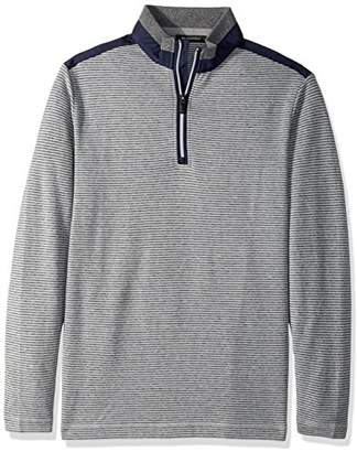 Bugatchi Men's Cotton Long Sleeve Half Zip Knit Shirt